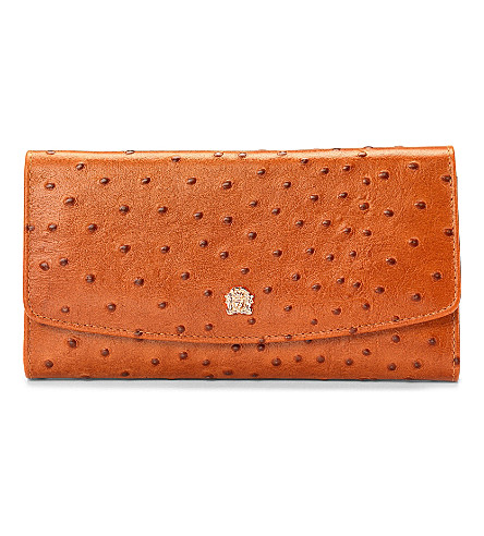 ASPINAL OF LONDON Brook street purse tan ostrich & smooth (Tan