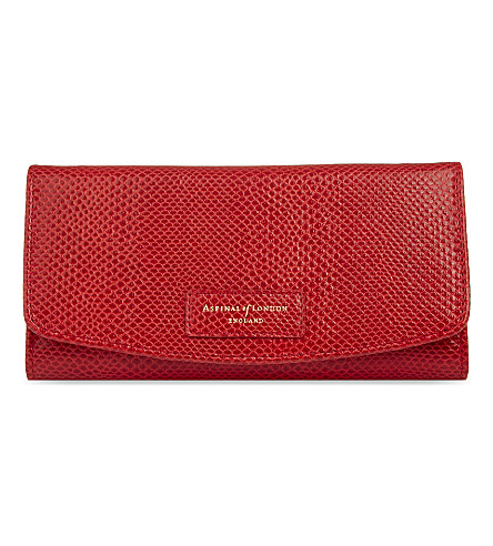 ASPINAL OF LONDON Brook street lizard-effect leather purse (Berry