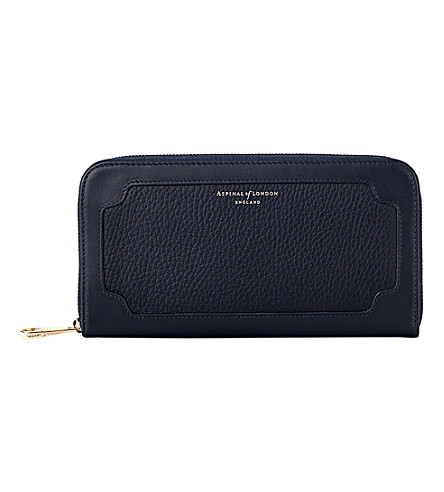 ASPINAL OF LONDON Marylebone zip-around pebble leather purse (Navy