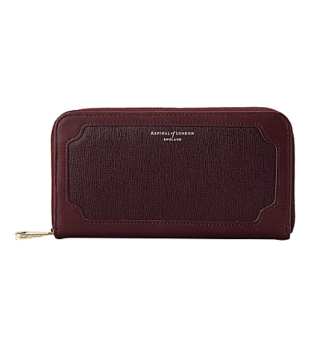 ASPINAL OF LONDON Marylebone saffiano leather purse (Burgundy