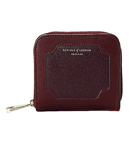 ASPINAL OF LONDON Marylebone leather mini purse (Burgundy