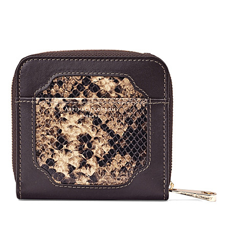 ASPINAL OF LONDON Marylebone snake-embossed leather purse (Tan