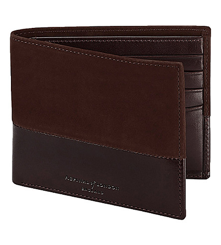 ASPINAL OF LONDON 阴影皮夹皮革钱夹 (棕色