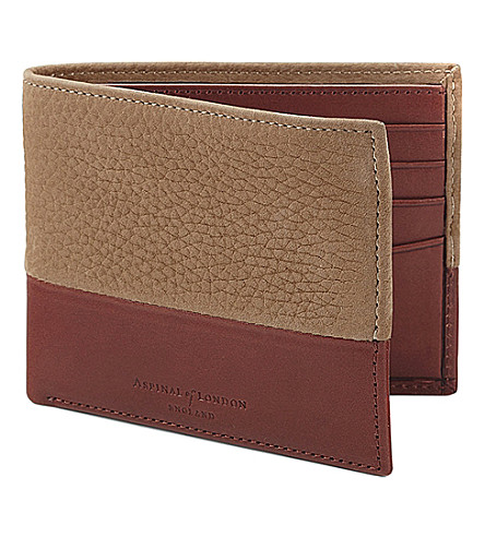 ASPINAL OF LONDON Shadow billfold leather wallet (Beige