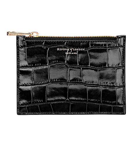 ASPINAL OF LONDON Essential mock-croc leather pouch (Black