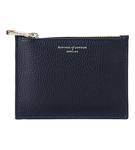 ASPINAL OF LONDON Essential small leather pouch (Navy