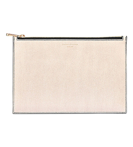 ASPINAL OF LONDON Small essential flat leather pouch (Monochrome