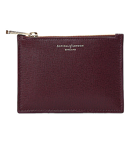 ASPINAL OF LONDON Essential small leather pouch (Burgundy