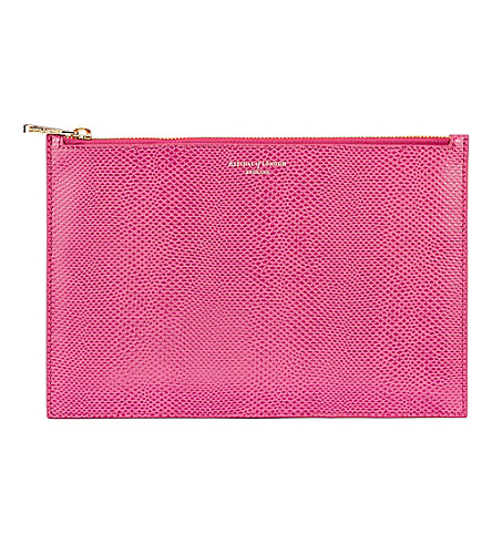 ASPINAL OF LONDON Small essential flat leather pouch (Pink