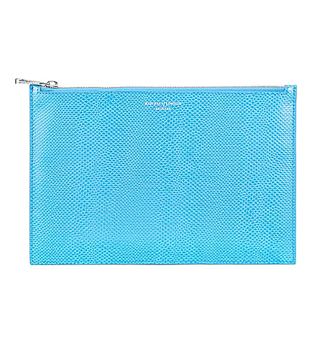 ASPINAL OF LONDON Essential lizard-embossed leather flat pouch (Blue