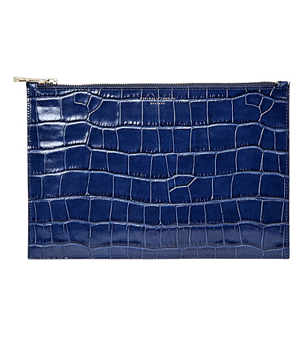 ASPINAL OF LONDON Essential Flat crocodile-embossed calf-leather pouch (Navy