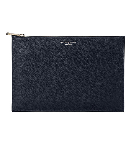 ASPINAL OF LONDON Essential large leather pouch (Navy
