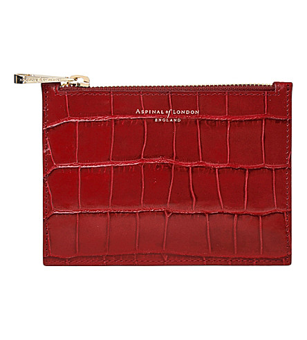 ASPINAL OF LONDON Essential Flat crocodile-embossed calf-leather pouch (Red