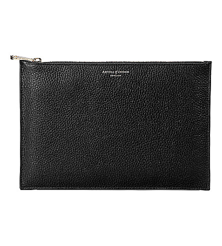ASPINAL OF LONDON Large essential leather flat pouch (Black