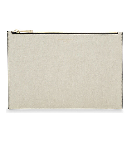 ASPINAL OF LONDON Essential saffiano leather flat pouch (Monochrome