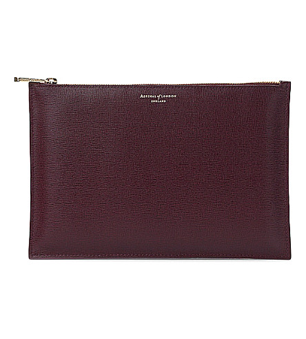 ASPINAL OF LONDON Essential large leather pouch (Burgundy