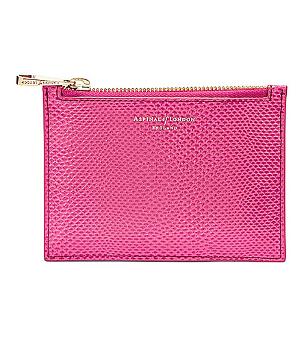 ASPINAL OF LONDON Essential lizard-embossed leather flat pouch (Pink