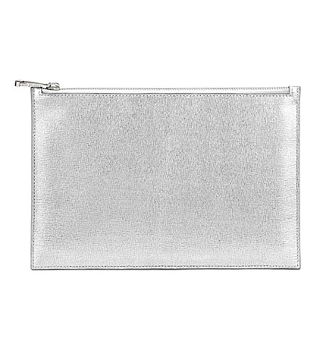 ASPINAL OF LONDON Essential saffiano leather flat pouch (Silver