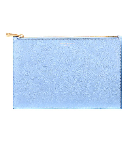 ASPINAL OF LONDON Essential floral leather pouch (Misty+blue
