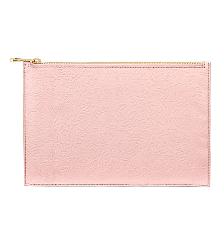 ASPINAL OF LONDON Essential floral leather pouch (Peach