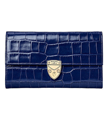 ASPINAL OF LONDON Mayfair crocodile-effect leather purse (Navy