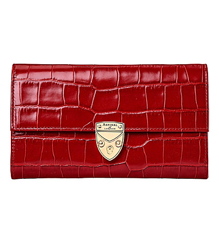ASPINAL OF LONDON Mayfair crocodile-effect leather purse (Red