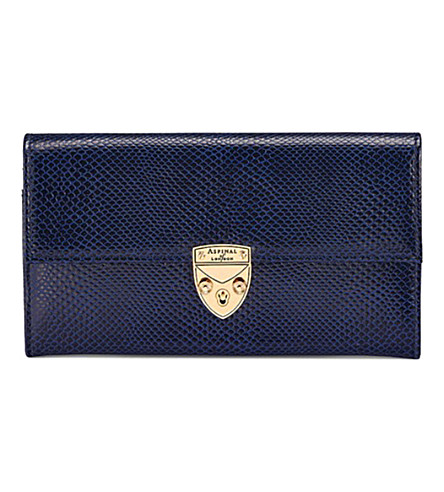 ASPINAL OF LONDON Mayfair lizard-effect leather purse (Blue