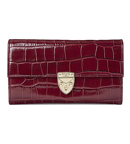 ASPINAL OF LONDON Mayfair crocodile-effect leather wallet (Bordeaux