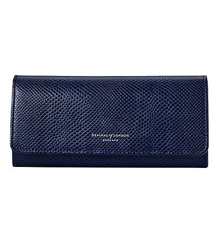 ASPINAL OF LONDON Lottie lizard-effect leather purse (Blue