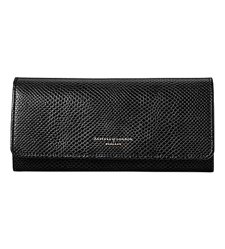 ASPINAL OF LONDON Lottie lizard-effect leather purse (Black