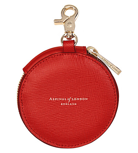 ASPINAL OF LONDON Round leather coin purse (Scarlet