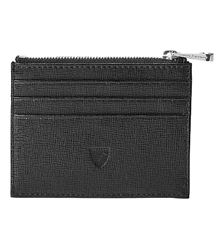 ASPINAL OF LONDON Saffiano leather coin and credit card holder (Black