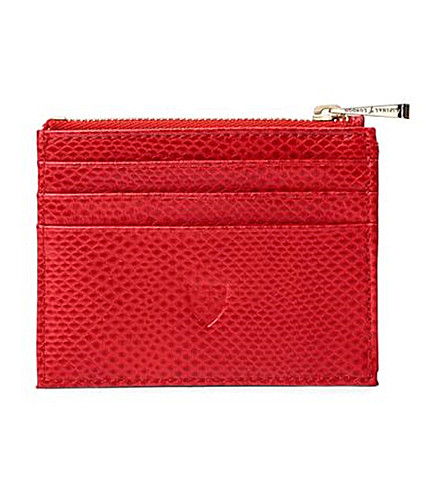 ASPINAL OF LONDON Reptile-effect leather coin and credit card holder (Berry