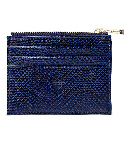 ASPINAL OF LONDON Reptile-effect leather coin and credit card holder (Blue