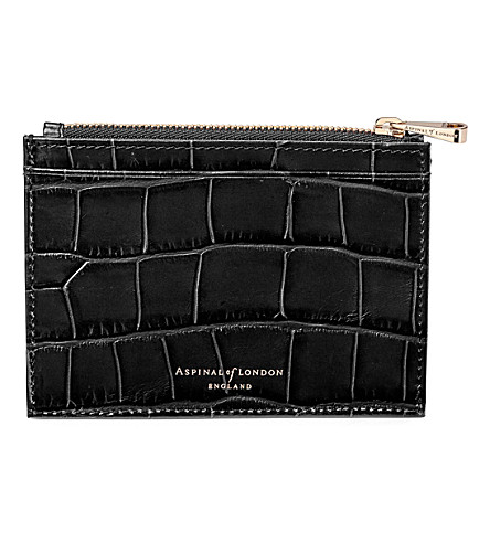 ASPINAL OF LONDON Reptile-effect leather double-sided coin and credit card holder (Black