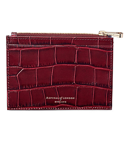 ASPINAL OF LONDON Reptile-effect leather double-sided coin and credit card holder (Bordeaux