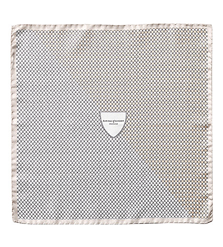 ASPINAL OF LONDON Savile Row silk pocket square (Cream