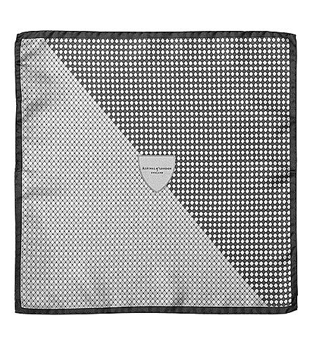 ASPINAL OF LONDON Savile Row silk pocket square (Silver