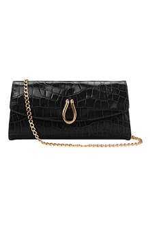 ASPINAL Eaton croc-embossed leather clutch