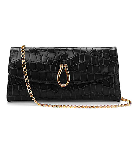 ASPINAL OF LONDON Eaton clutch bag black superlux croc (Black