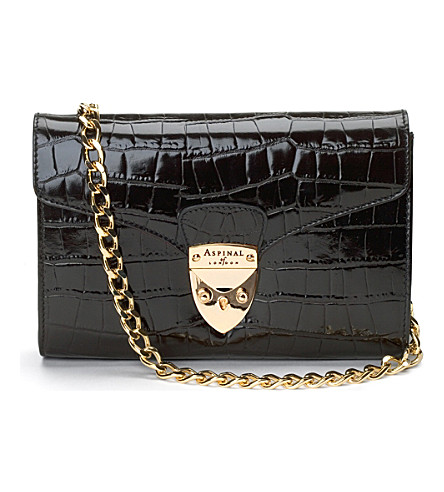 ASPINAL OF LONDON Manhattan clutch bag - black mock croc w (Black