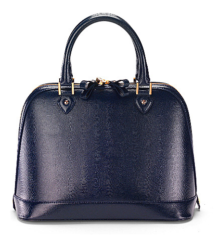 ASPINAL OF LONDON Hepburn lizard-print tote (Navy