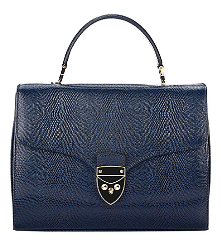ASPINAL OF LONDON Hepburn lizard-embossed leather bag (Blue