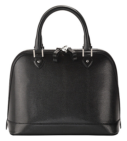 ASPINAL OF LONDON Hepburn lizard-embossed leather bag (Black