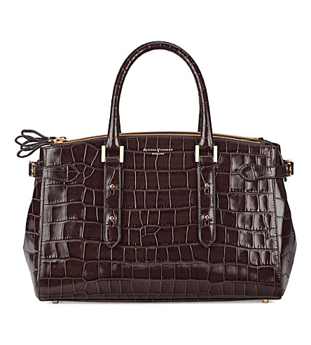 ASPINAL OF LONDON Brook Street croc-embossed leather tote (Amazon+brown