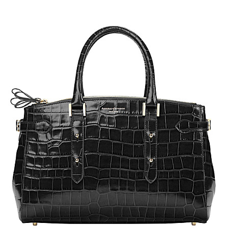 ASPINAL OF LONDON Brook Street mock-croc leather tote bag (Black