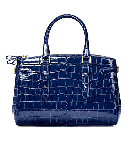 ASPINAL OF LONDON Brook Street croc-embossed leather tote bag (Navy