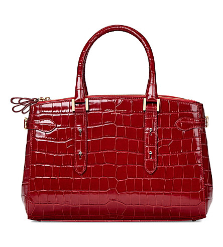 ASPINAL OF LONDON Brook Street croc-embossed leather tote bag (Red