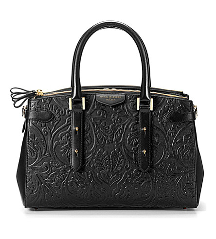 ASPINAL OF LONDON Brook Street flower-embossed leather tote (Black