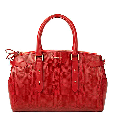ASPINAL OF LONDON Brook street lizard-embossed leather tote bag (Berry